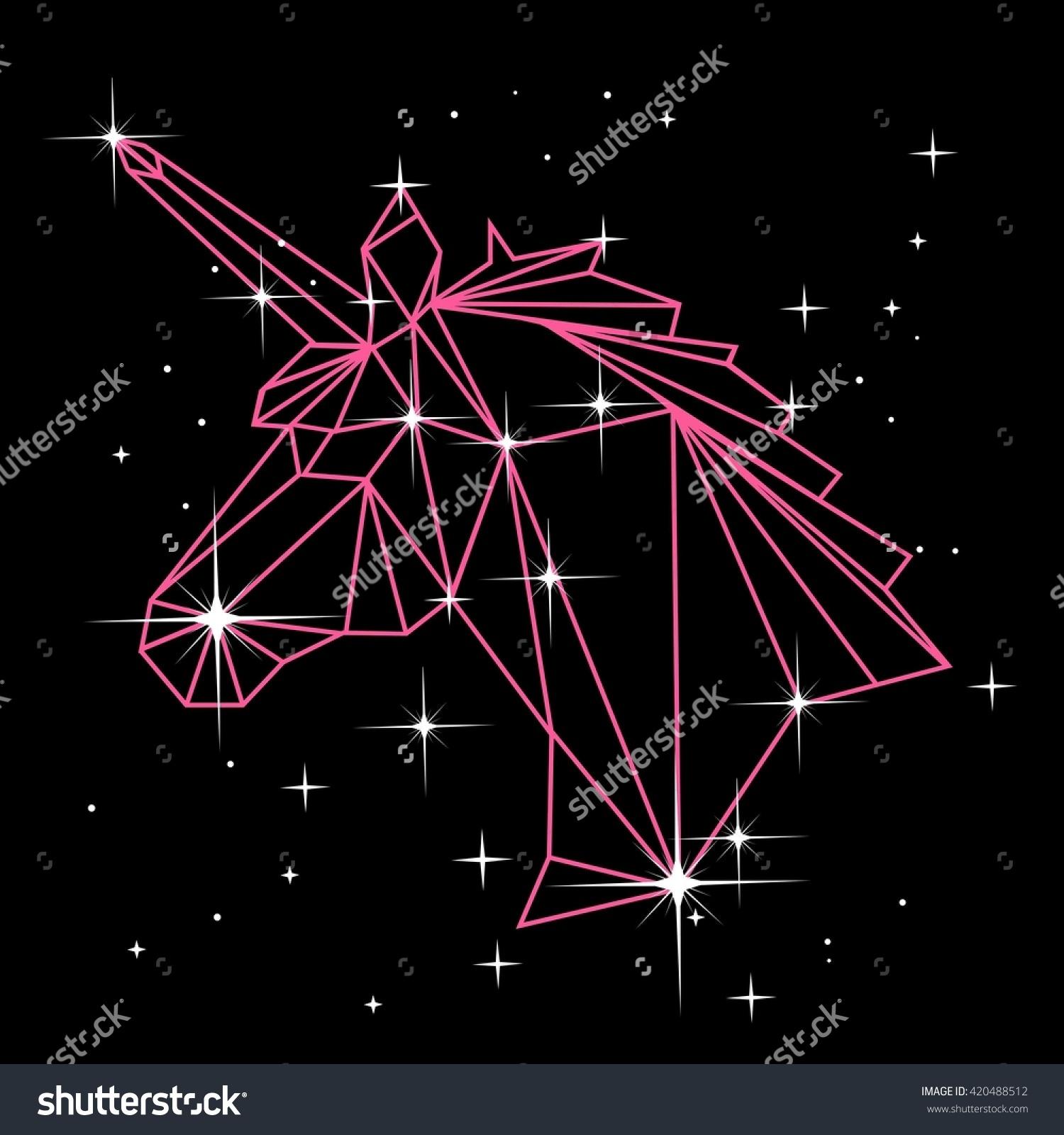 Vector Polygonal Illustration Geometric Unicorn Head Stock Vector.