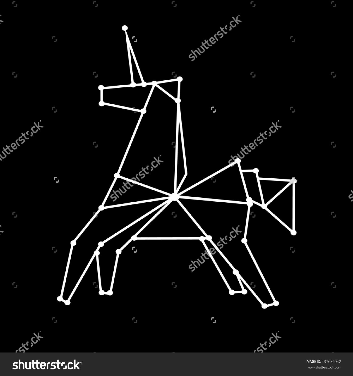 Constellation Unicorn Polygonal Illustration Geometric Unicorn.