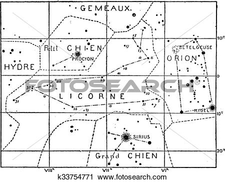 Clipart of Monoceros or Unicorn Constellation, vintage engraving.