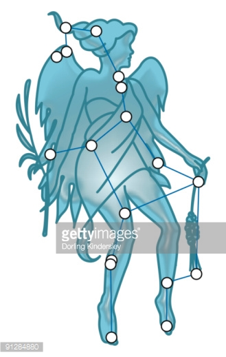 Digital Illustration Of Virgo Constellation Represented As Winged.