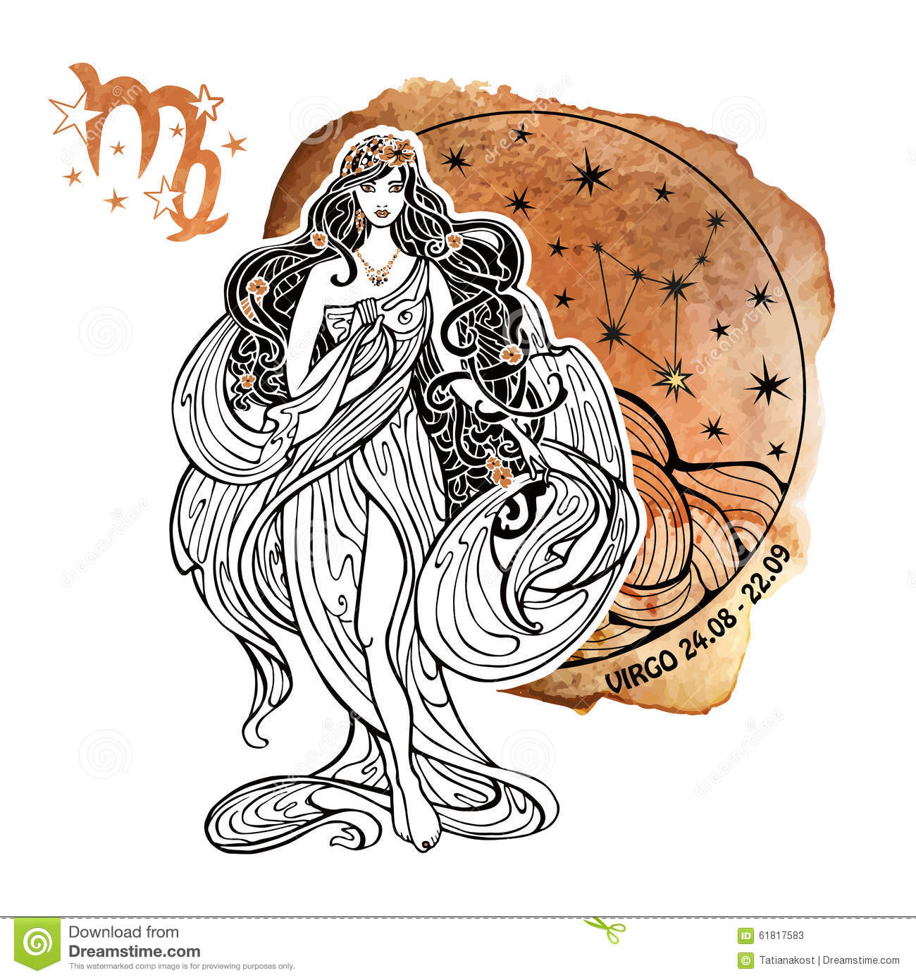 Virgo The Virgin Star Sign Royalty Free Stock Photo.