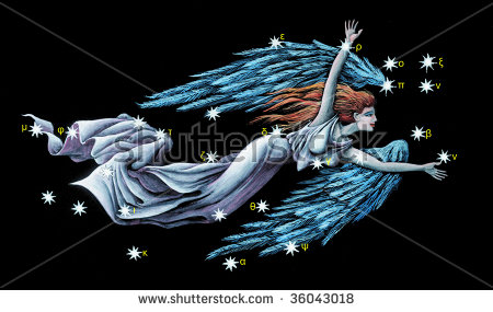 Sign On Zodiac Constellation The Virgin (Virgo) Stock Photo.
