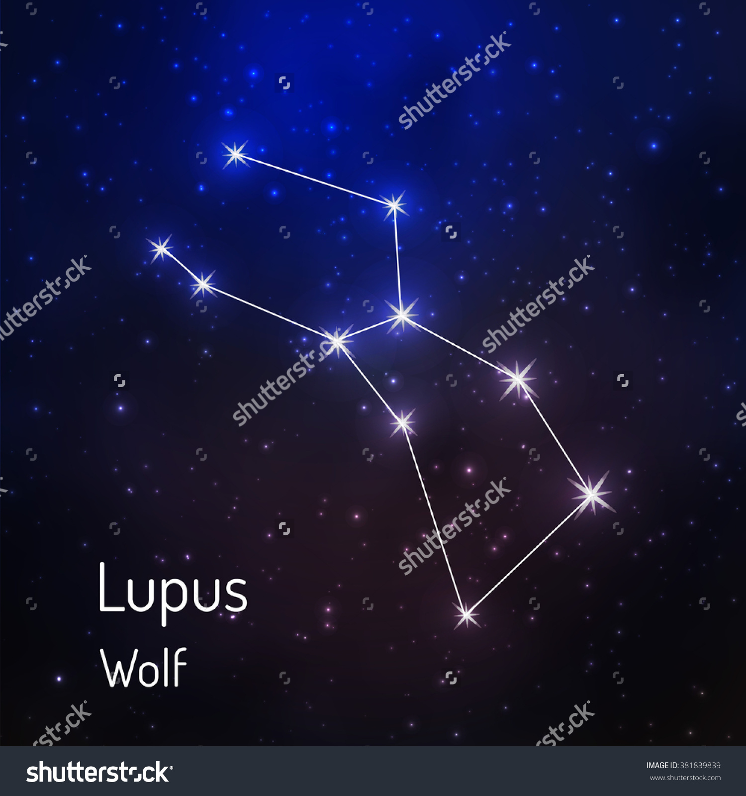 Lupus Wolf Constellation Night Starry Sky Stock Vector 381839839.