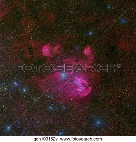 Stock Images of IC 2944, a large H II region in the constellation.