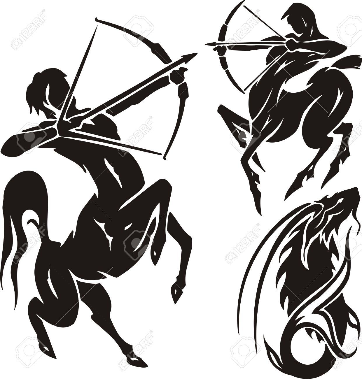 Two Centaurs And Mountain Goat. Tribal Clipart. Vector.