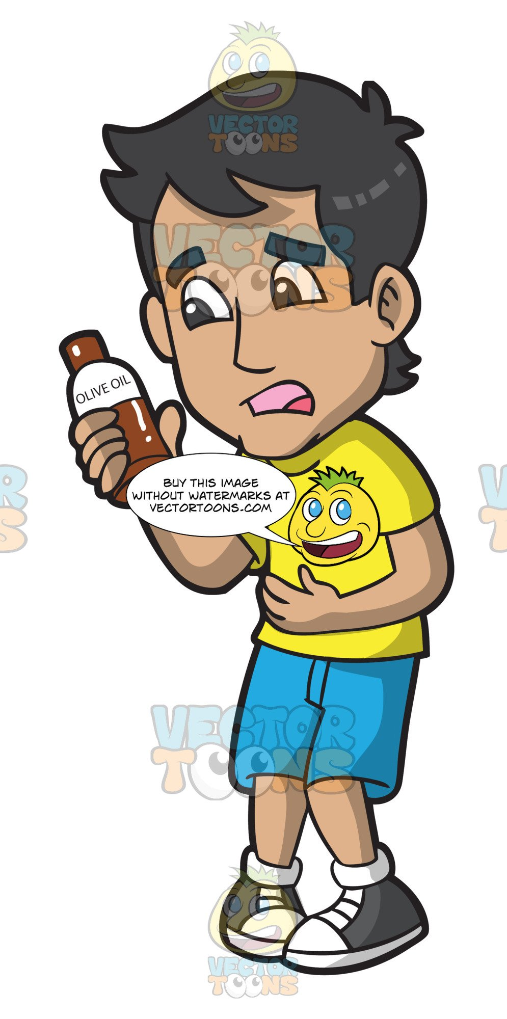 A Constipated Man Holding A Bottle Of Olive Oil.