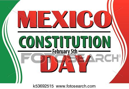 Mexico Constitution Day with Mexican Flag Border Clipart.