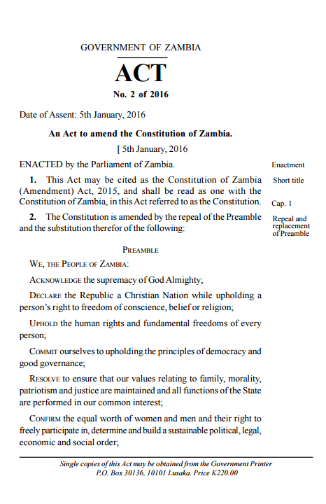 Constitution of Zambia (Amendment) Act, 2015 (5 January 2016.