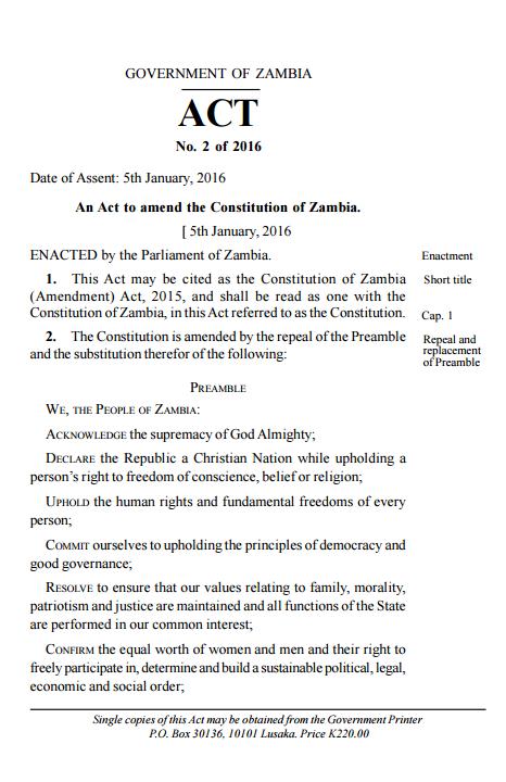 Constitution of Zambia (Amendment) Act, 2015 (5 January 2016.