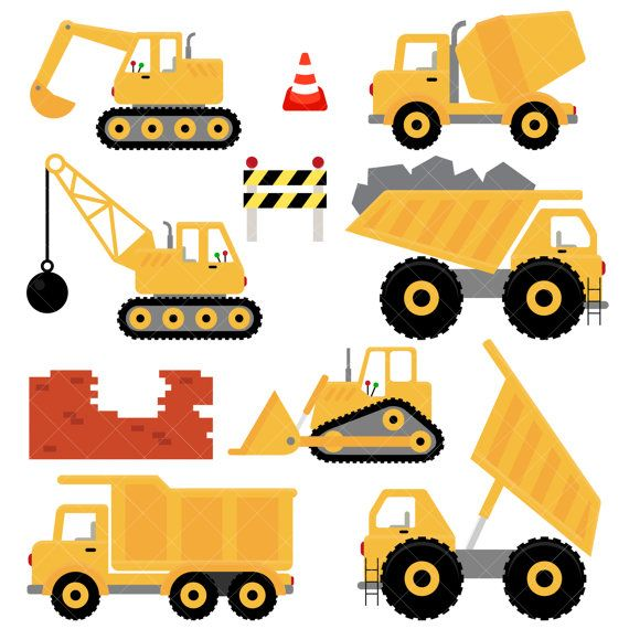 Trucks and Diggers Clipart / Construction Clipart in 2019.