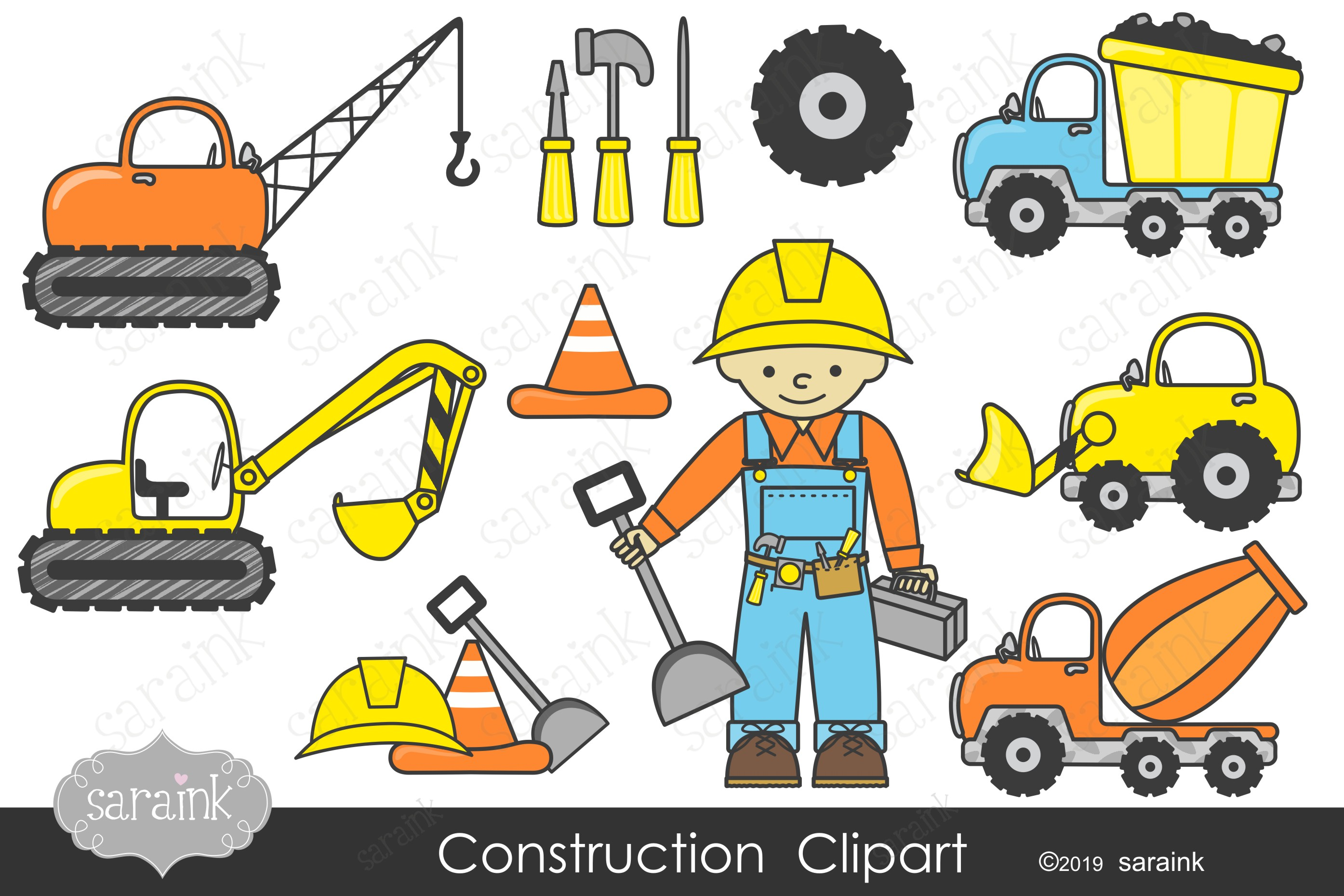 Construction Clipart & Digital Papers.
