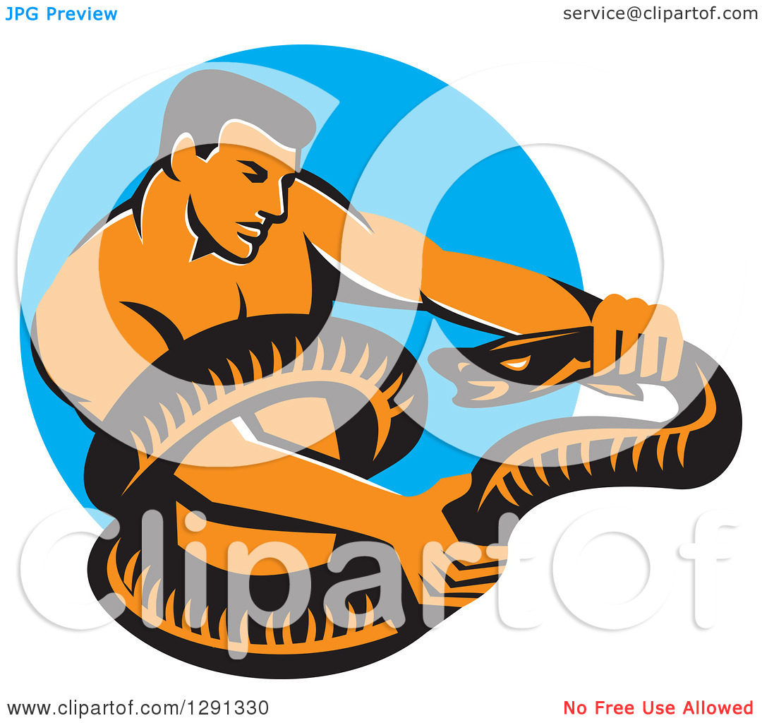 Clipart of a Retro Muscular Man Wrestling a Boa Constrictor Snake.