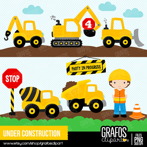 UNDER CONSTRUCTION Digital Clipart Set Imagenes por.