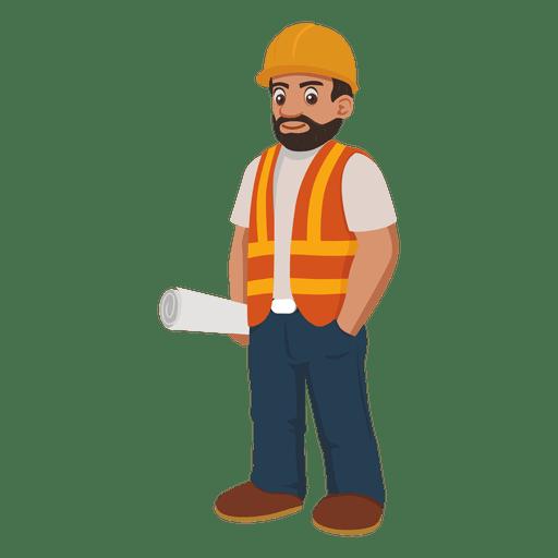 Dibujos animados de trabajador de construcción.