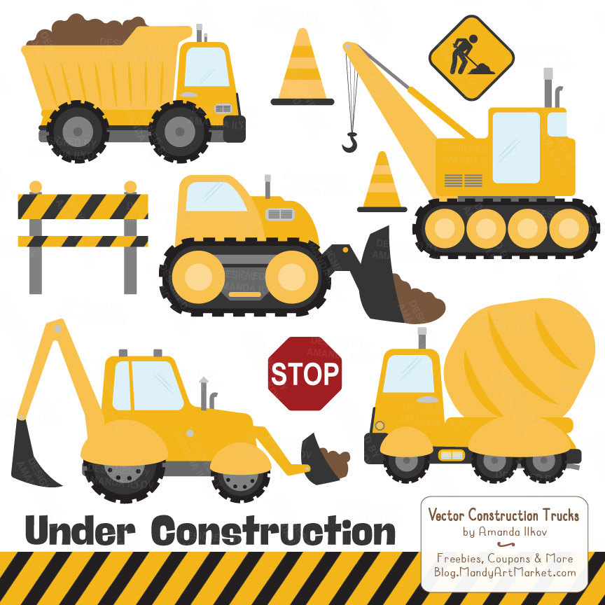Premium Yellow Construction Clipart Truck Clipart by AmandaIlkov.