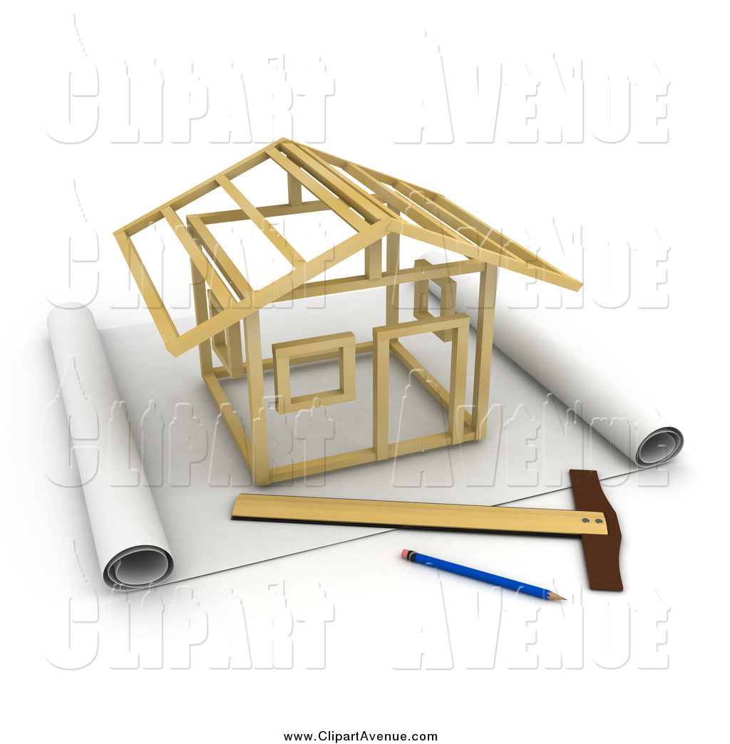 Avenue Clipart of a 3d Stick House Being Constructed on Blueprints.