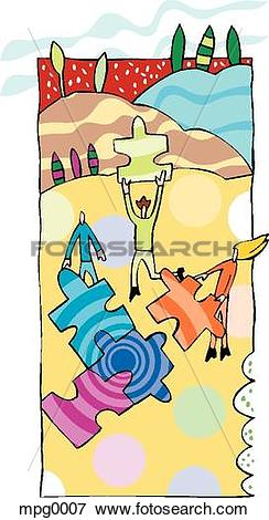 Stock Illustration of People constructing a colorful puzzle.