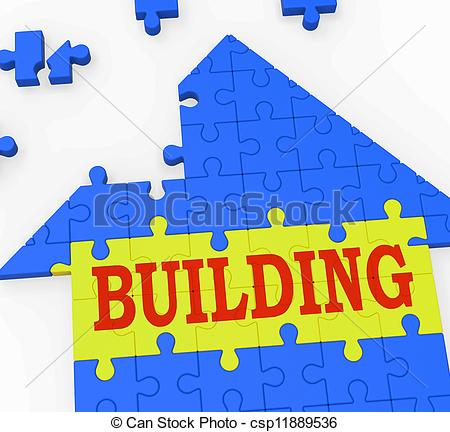 Drawings of Building House Shows Teamwork Constructing Puzzle.