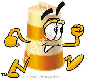 Clipart Picture of a Construction Barrel Character Running.