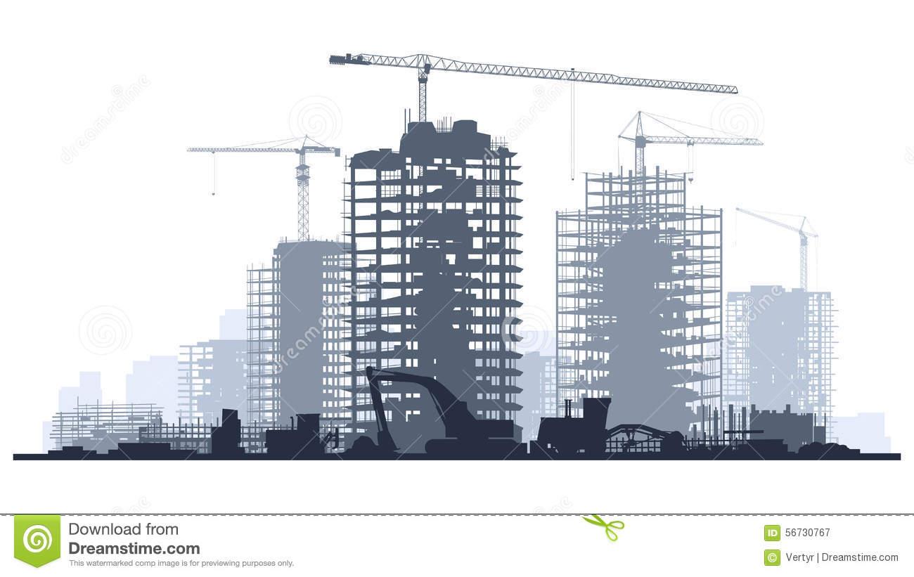 Building Construction Silhouette Vector.