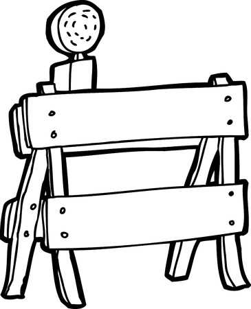 Black And White Outline Cartoon Construction Barrier Royalty Free.