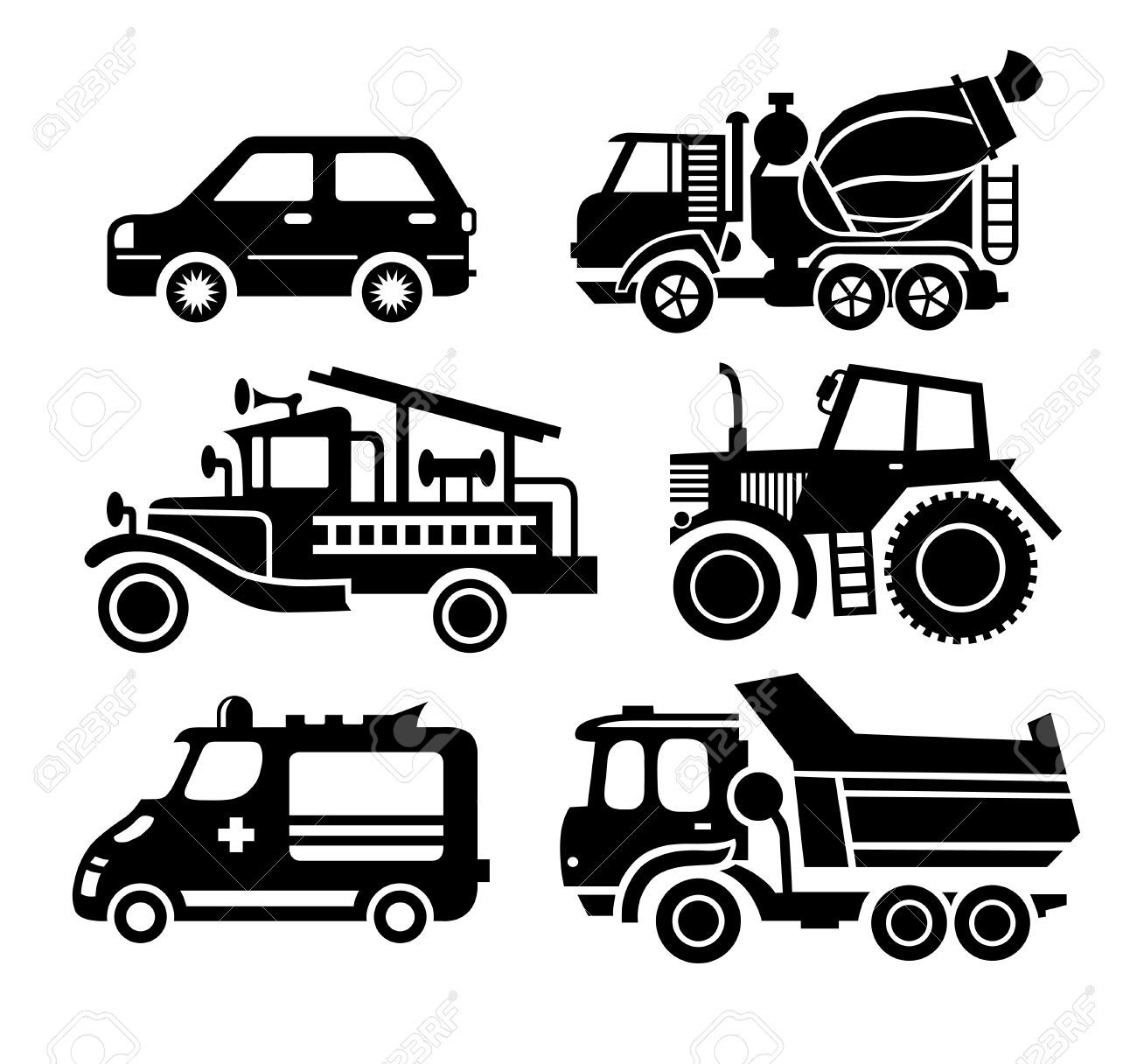 construction vehicles clipart black and white.