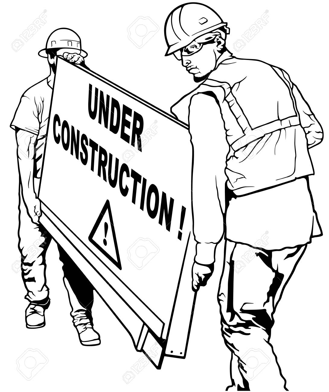 Two Building Workers Carrying Wooden Board with Under Construction...