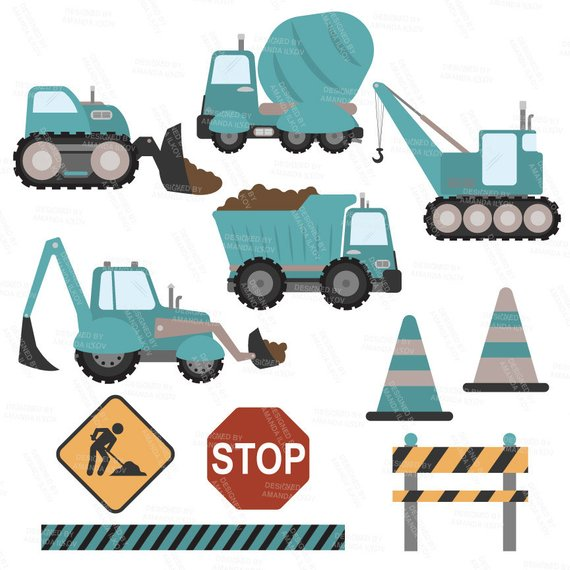 Premium Teal Construction Clipart.