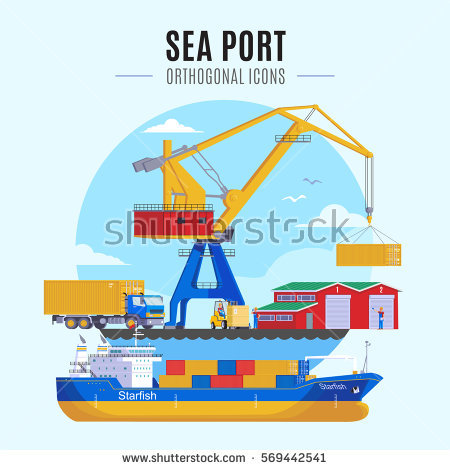 Sea Port Unloading Cargo Containers Container Stock Vector.
