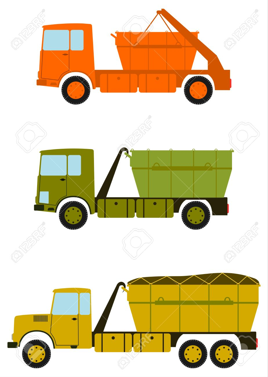 A Set Of Construction Trucks With Containers For Debris On The.