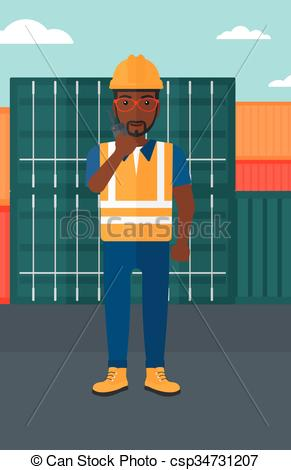 Vector Clipart of Stevedore standing on cargo containers.