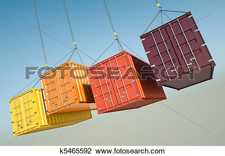 Clip Art of Shipping Containers k5465592.
