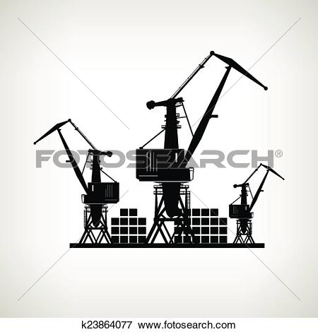 Clip Art of Silhouette cargo cranes and containers on a light.