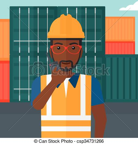 Clip Art Vector of Stevedore standing on cargo containers.