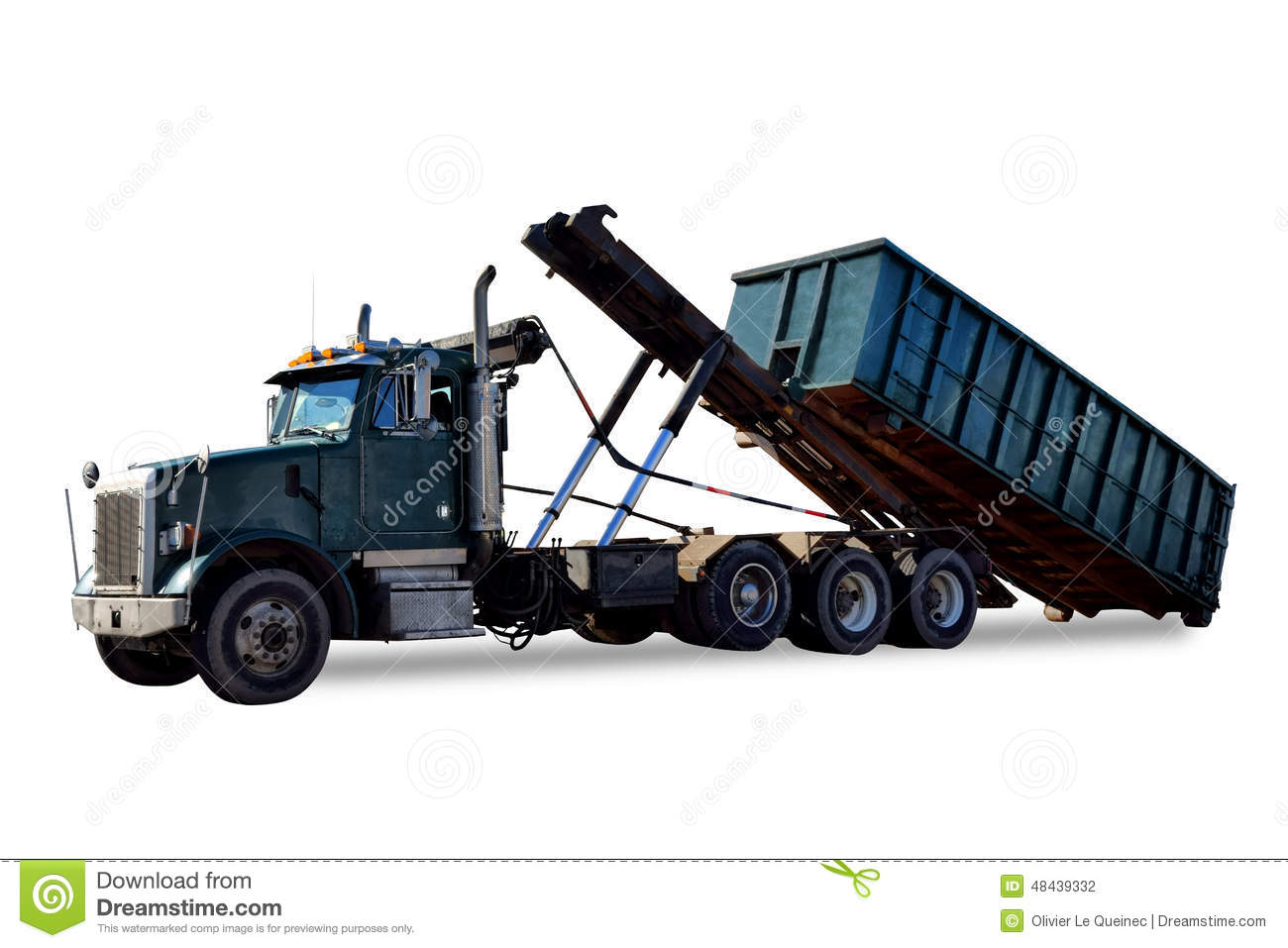 Roll Off Refuse Trash Container And Garbage Truck Stock Images.