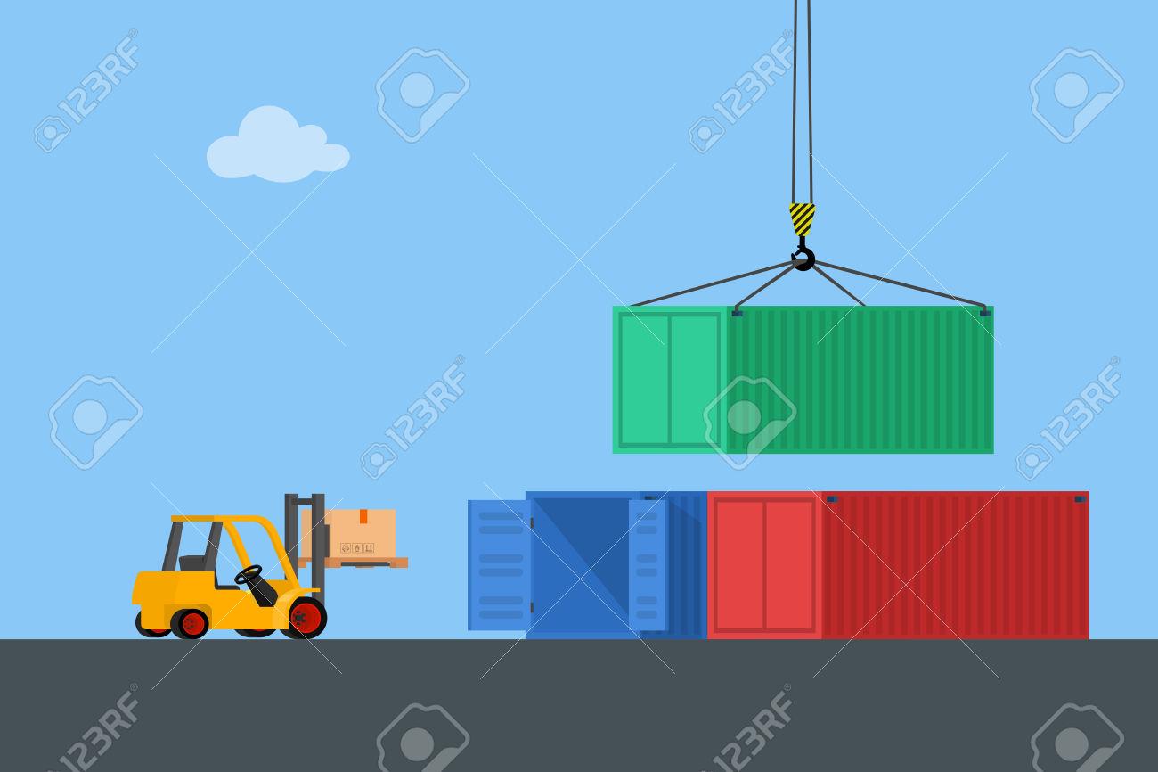 Concept Marine Cargo Port. Unloading Of Sea Cargo Containers.
