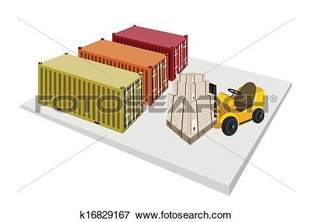 Clip Art of Forklift Truck Loading Shipping Boxes into Containers.