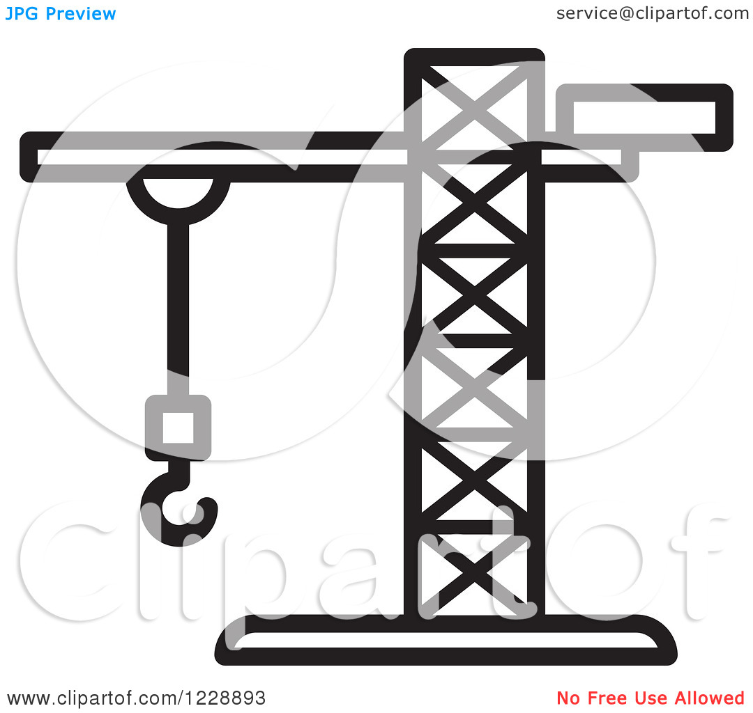 Clipart of a Black and White Construction Crane Icon.