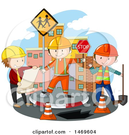 Clipart of a Construction Worker Crew.