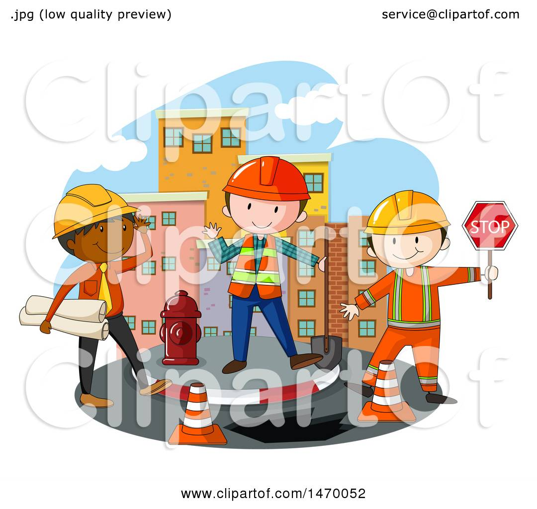Clipart of a Construction Crew.