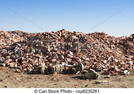 Stock Photography of Landfill for disposal of construction waste.