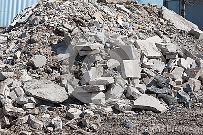 Concrete Debris On Construction Site Stock Photo.