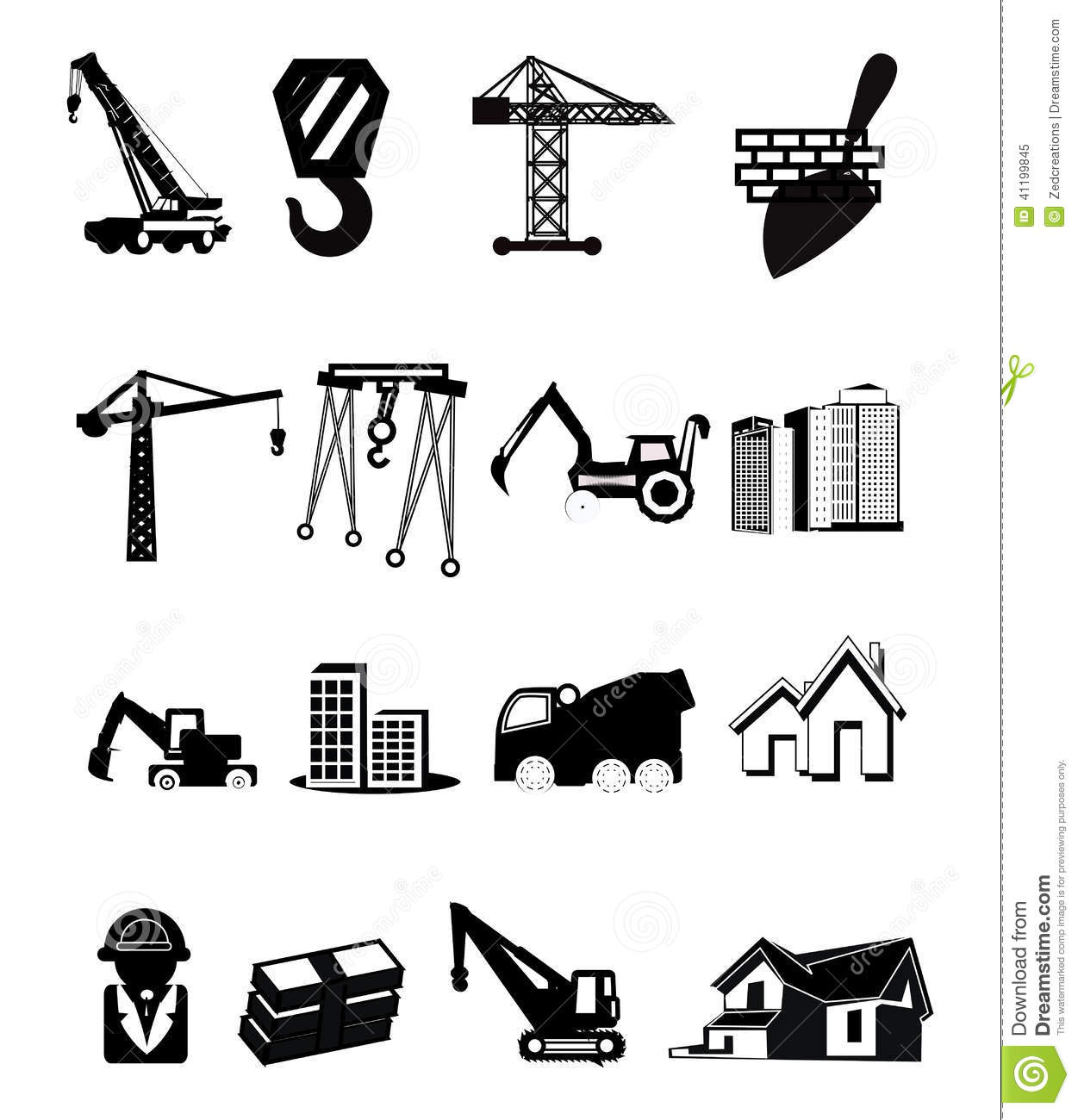 Construction Icons Stock Vector.