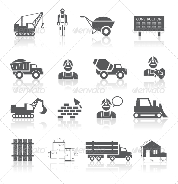 Construction Pictograms Collection by macrovector.