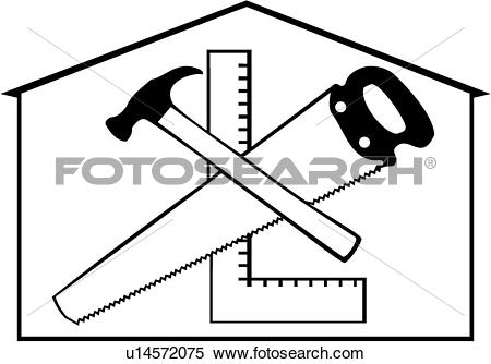 Clipart of , carpenter, construction, elements, occupations, sign.