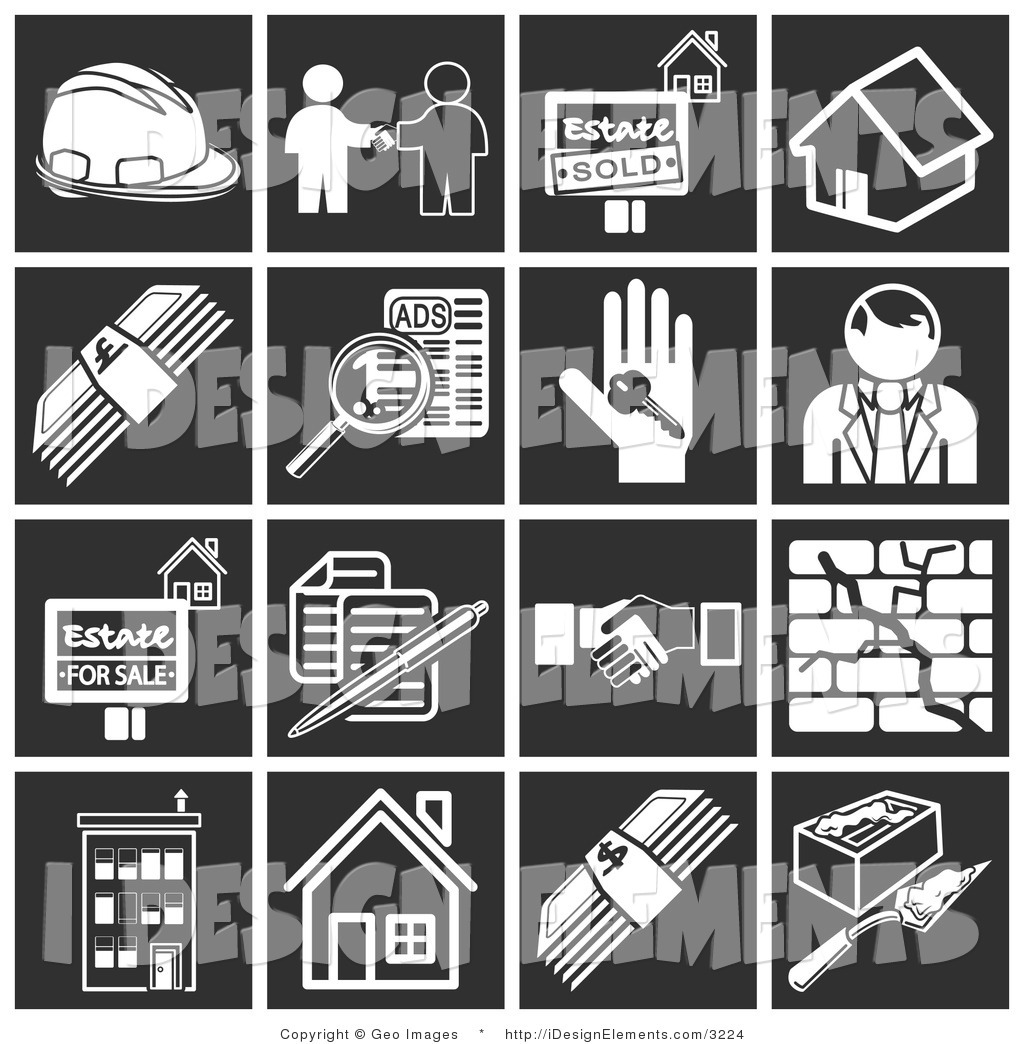 Clip Art of a Set of White Home Construction Icons over a Black.