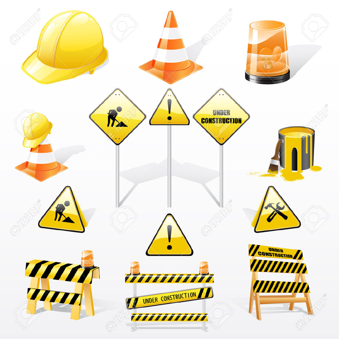 Set Of Under Construction Elements Royalty Free Cliparts, Vectors.