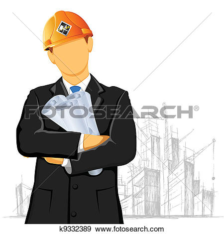 Clip Art of Engineer and construction site manager watching.