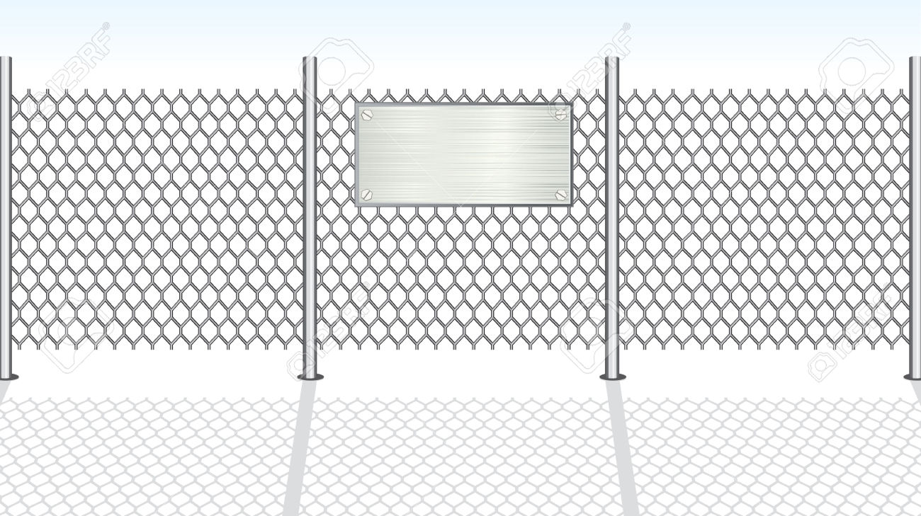 Chain Link Fence With Metallic Sign For Your Text Royalty Free.