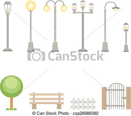 EPS Vectors of Street lights and lamps set . Outdoor elements.